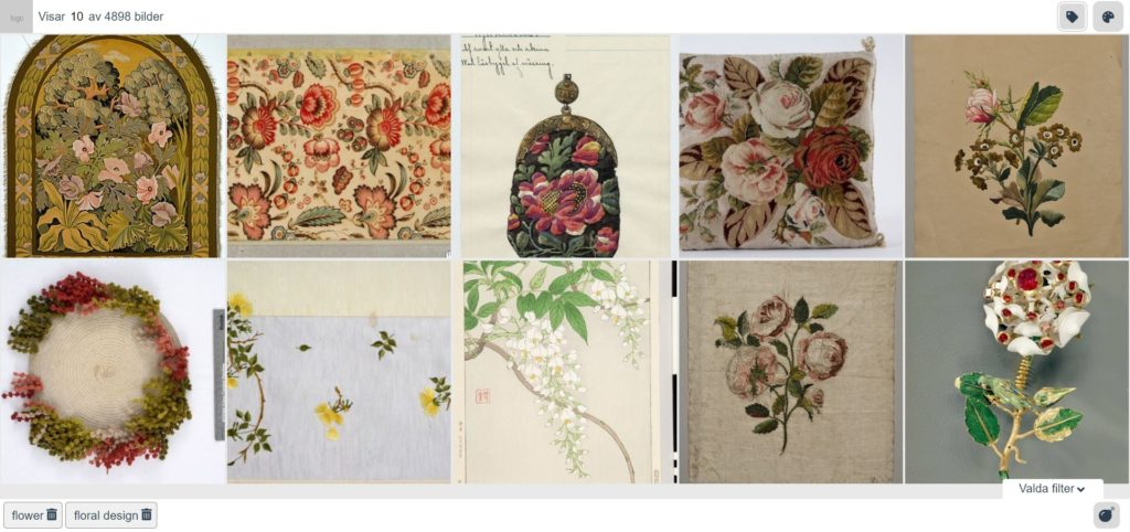 A moodboard of prints, textiles and jewellerty featuring floral designs.